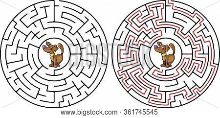 Abstract Maze With Cute Dog Maze, Game, Way, Solution,