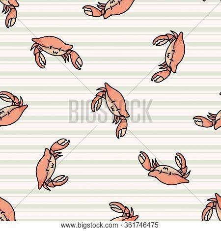 Cute Red Crab Cartoon Seamless Vector Pattern. Hand Drawn Crustacean Shellfish Tile. All Over Print