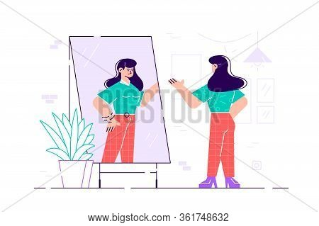 Woman Standing And Looking In Mirror. Flat Style Vector Illustration. Young Long-haired Woman Standi