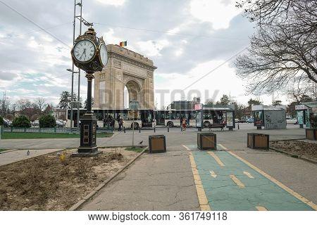 Bucharest, Romania - March 12 2020: Landscape View Of National Romanian Triumphal Arc In Bucharest,