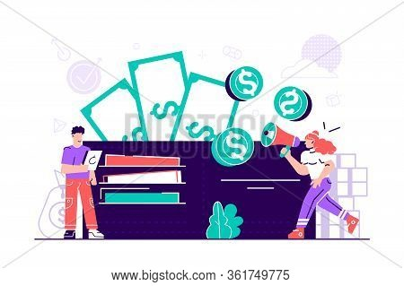 Vector Illustration, Wallet With Money Dollar Bill, Concept Of Online Payments, Open Purse With Coin