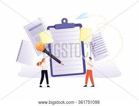 Notes Vector Illustration. Flat Tiny Paper Textbook Write Persons Concept. Stationery Blank Sheets F