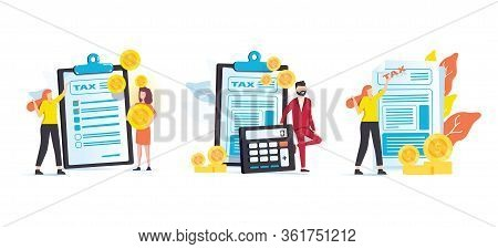 Taxes And Fees Paying. Financial Charge, Obligatory Payment Calculating. Personal Income Tax, Doing