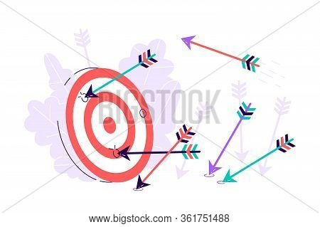 Many Arrows Missed Hitting Target Mark. Shot Miss. Multiple Failed Inaccurate Attempts To Hit Archer