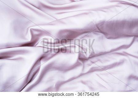 Pink Silk Background. Background Satin Fabric In Pink. Pink Silk Sheet. Pink Tencel.
