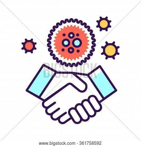 Covid-19 Transmitted Through Handshake Color Line Icon. Healthcare. Pictogram For Web Page, Mobile A