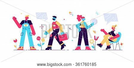 Business Multinational Team. Vector Illustration Of Diverse Cartoon Men And Women Of Various Races,