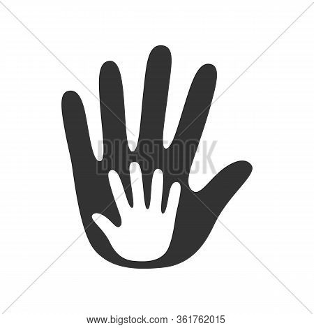 Little Kid Hand With A Big Adult Ones, Family Support Concept. Friendship Logo. Premium Vector Illus
