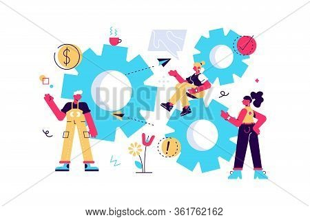 Little People Links Of Mechanism. Business Mechanism. Abstract Background With Gears. People Are Eng