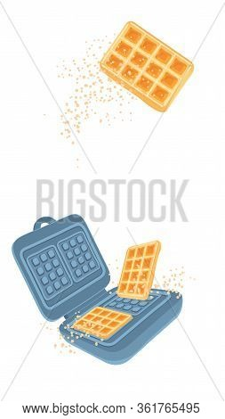 Modern Cover With Waffle Maker For Web Banner Design. Cooking Belgian Waffles Vector Illustration Is