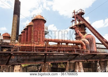 Sloss Furnaces National Historic Landmark, Birmingham Alabama Usa, View Of Stacks And Furnaces, Old