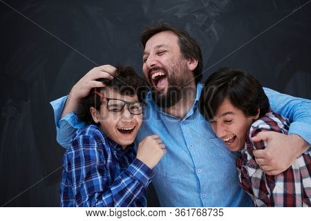 happy father hugging sons unforgetable moments of family joy in mixed race middle eastern arab family