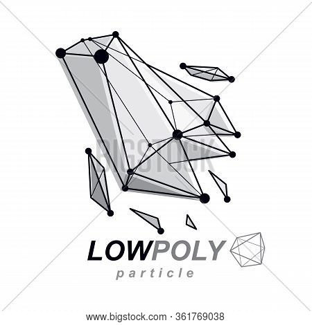 3d Design, Abstract Vector Faceted Shape. Technology And Science Conceptual Emblem.
