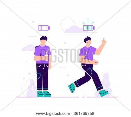 Energetic And Exhausted Workers Vector Illustrations Set. Happy And Unhappy Male Employee And Batter