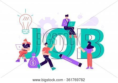 Flat Vector Illustration, Job Search, Recruitment, Workgroup, Freelance, Web Graphic Design. Hiring