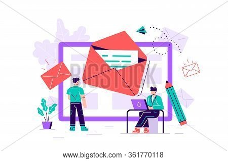 Composition With Giant Tablet Pc, Letter In Envelope On Screen, Group Of Working People Or Team Of M