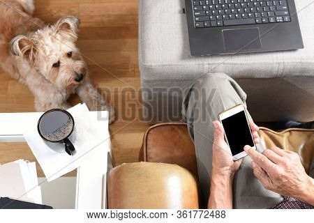 Closeup of a man's hands with cell phone working form home during the Covid-19 lockdown. High angle shot with pet dog at his feet.