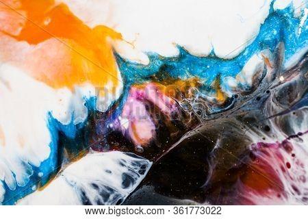 Part of original epoxy resin art close up lacing