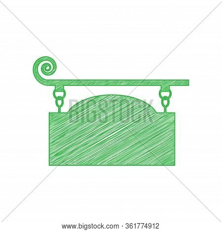 Wrought Iron Sign For Old-fashioned Design. Green Scribble Icon With Solid Contour On White Backgrou