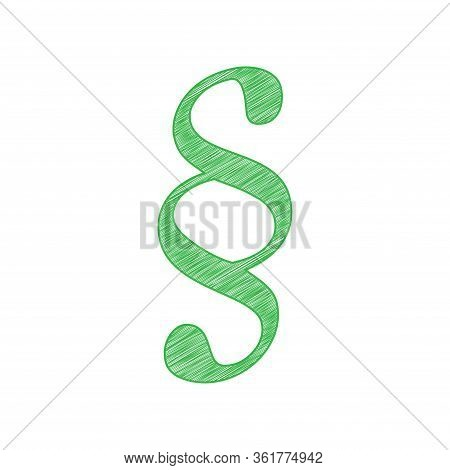 Paragraph Sign Illustration. Green Scribble Icon With Solid Contour On White Background. Illustratio