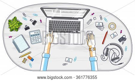 Office Worker Or Entrepreneur Working On A Laptop Computer, Top View Of Workspace Desk With Human Ha
