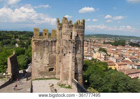 Italy, Valeggio Sul Mincio - May 20 2018: The View Of Scaliger Castle On May 20 2018 In Veneto, Ital