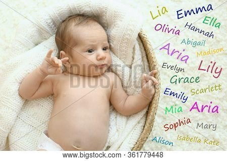 Choosing Name For Baby Girl. Adorable Newborn In Cradle, View From Above