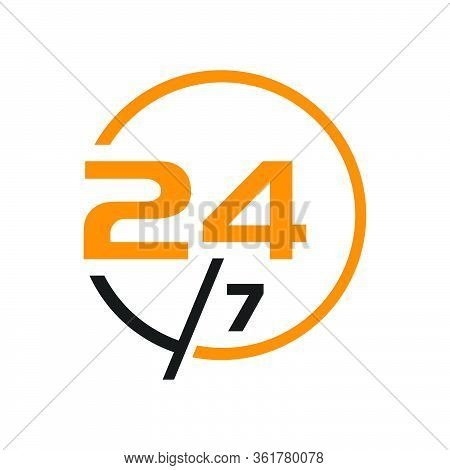 24 Hours Service Logo Sign Vector Icon Day Night Services Button Symbol
