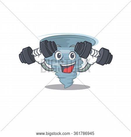 Mascot Design Of Smiling Fitness Exercise Tornado Lift Up Barbells
