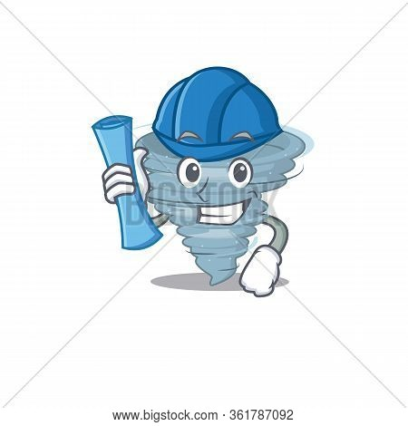 Cartoon Character Of Tornado Brainy Architect With Blue Prints And Blue Helmet