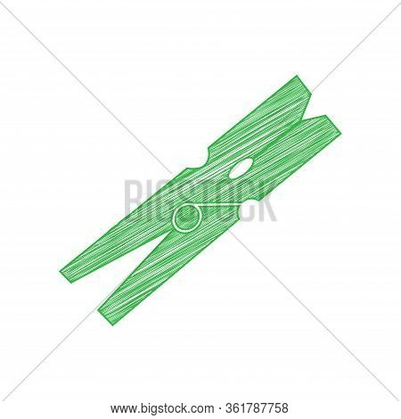Clothes Peg Sign. Green Scribble Icon With Solid Contour On White Background. Illustration.