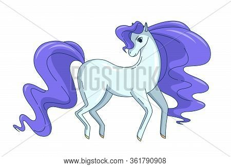 Pretty Horse With Waving Mane And Tail Isolated On White Background. Vector Illustration In Cute Car