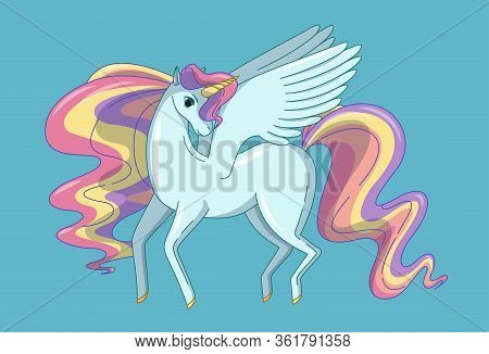 Pretty Winged Unicorn With Waving Mane And Tail Colored Like A Rainbow. Vector Illustration In Cute