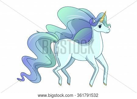 Pretty Unicorn With Waving Mane And Tail. Vector Illustration In Cute Cartoon Style