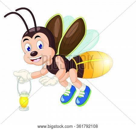 Flying Brown Firefly With Old Lantern Lamp Cartoon Vector Illustration