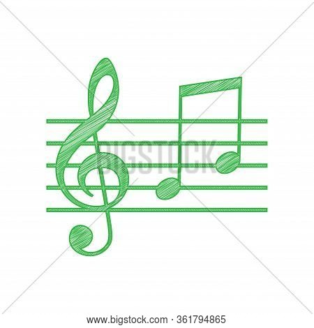 Music Violin Clef Sign. G-clef And Notes G, H. Green Scribble Icon With Solid Contour On White Backg