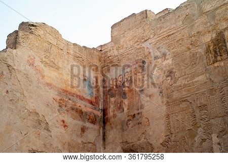 Roman Fresco Painting And Ancient Egyptian Hieroglyphs In The Imperial Cult Chamber In The  At Luxor