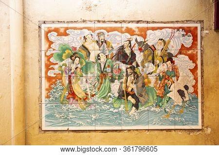 Pattani, Thailand - August 16 : Buddha God Goddess Painting And Decoration Of Leng Chu Kiang Or Chao