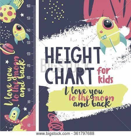 Cute Space Vector Height Chart Meter For Little Boy With Spacecraft, Planets, Alien, Stars, Moon