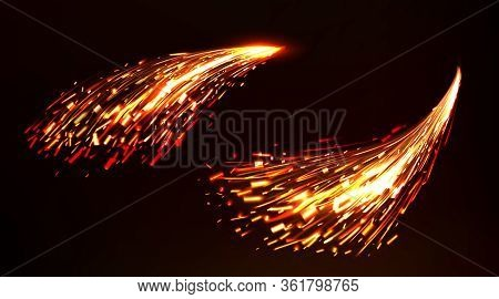 Weld Sparks Isolated On Dark Background. Vector Realistic Flare Effect Of Metal Welding, Iron Cuttin