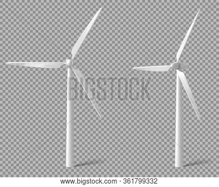 Wind Turbine Front And Angle View. Alternative Renewable Power Generation, Green Energy Concept. Vec