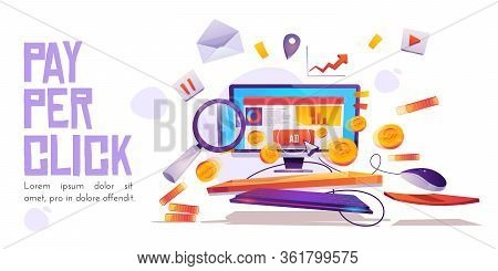 Pay Per Click Banner, Computer Desktop With Cursor Clicking On Ad Button, Searching Magnifier And Mo
