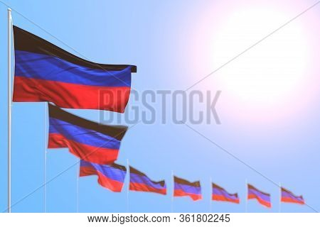 Pretty Many Donetsk Peoples Republic Flags Placed Diagonal With Bokeh And Empty Space For Your Text
