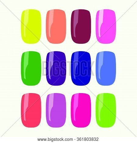 Vector Multi-colored Set Of False Nails. Flat Design Isolated On White Background