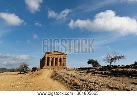 Wide-angle Shot Of Tempio Della Concordia In Valley Of The Temples Near Agrigento, Sicily, Italy Wit