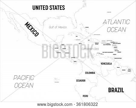 Central America Map. High Detailed Political Map Central American And Caribbean Region With Country,