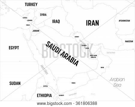 Middle East Map. High Detailed Political Map Of Middle East And Arabian Peninsula Region With Countr