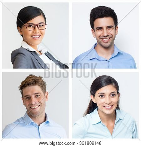 Set Of Chest-up Portraits Of Smiling Pretty Young Colleagues. Young Interracial Composition Of Co-wo