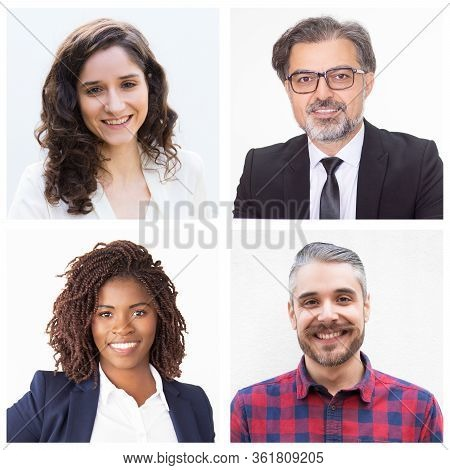 Set Of Portraits Of Different Colleagues Smiling. Male And Female Colleagues Dressed Formally. Men W