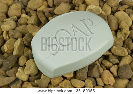 Soap Bar On Stones Background
